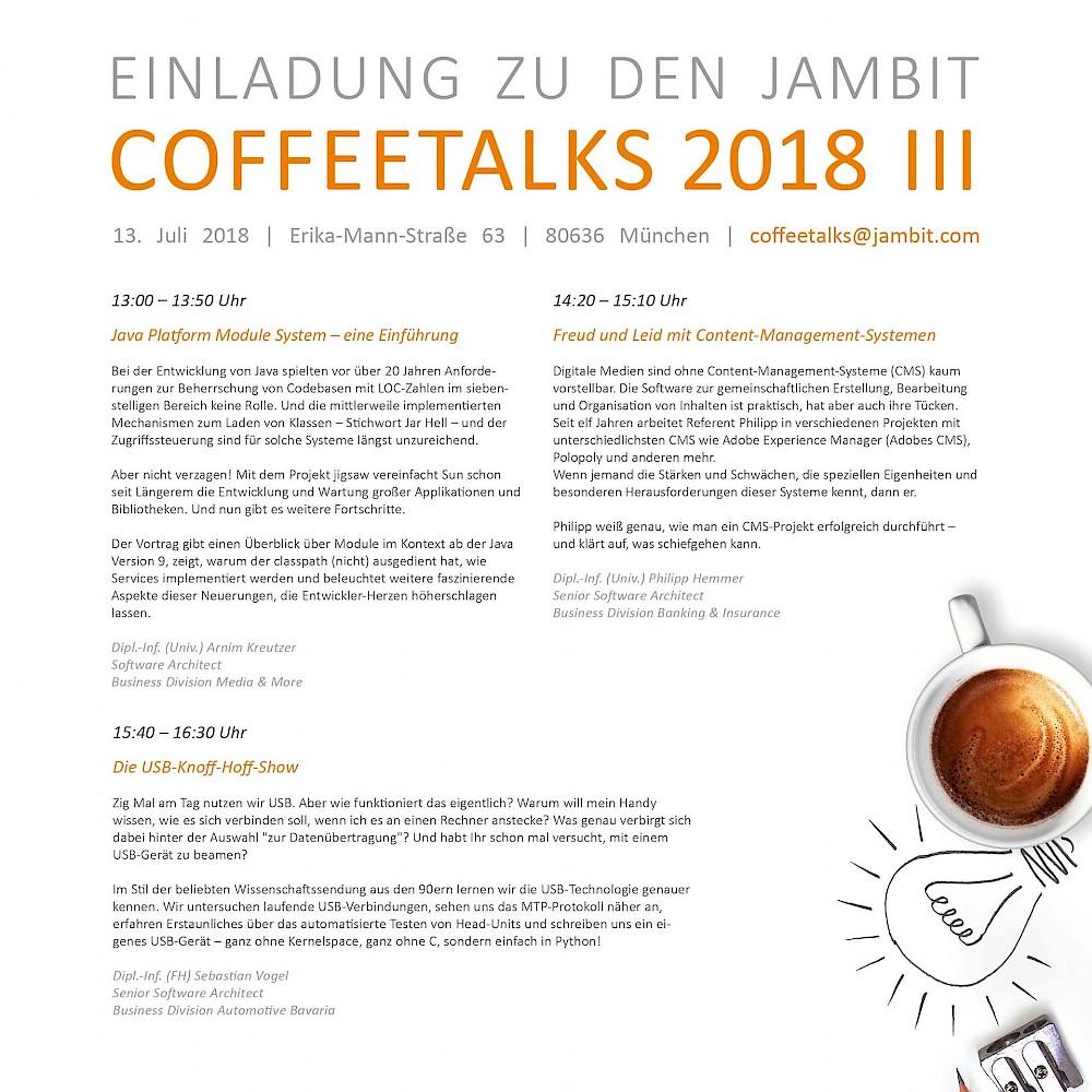 CoffeeTalks III / 2018   jambit GmbH