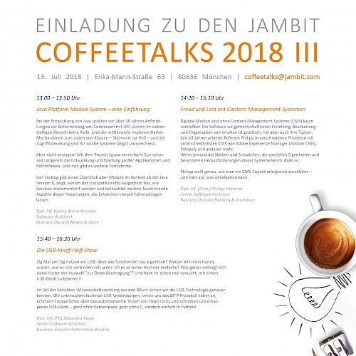 CoffeeTalks III/2018