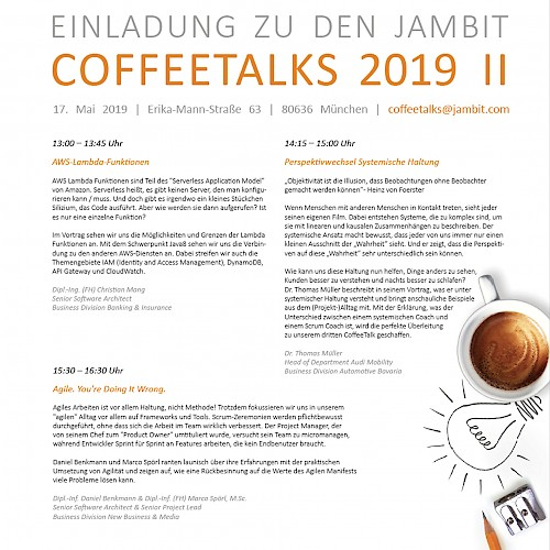 Die jambit CoffeeTalks am 17. Mai 2019